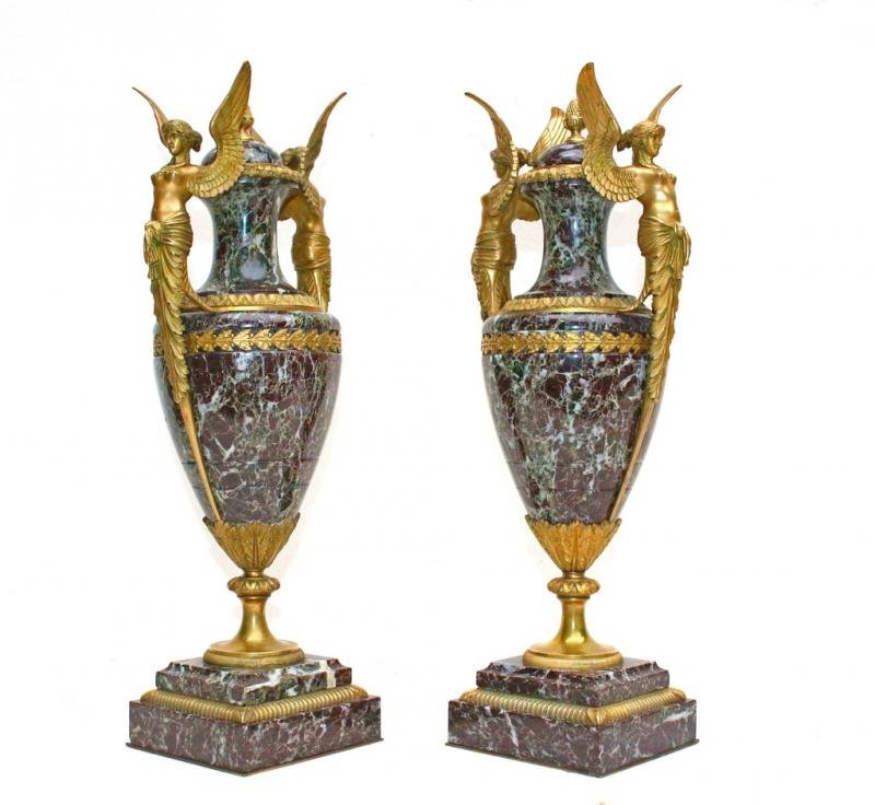 Antique PAIR OF MARBLE AND BRONZE VASES