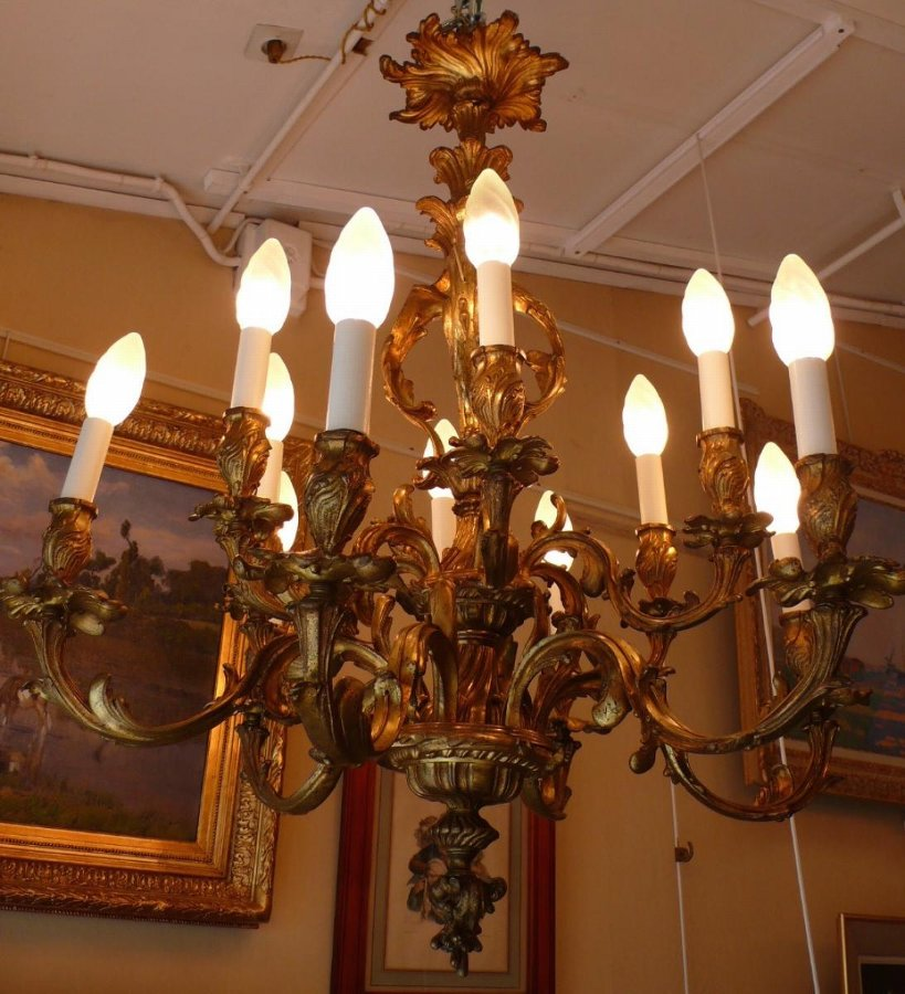 Rocaille giltbronze chandelier louis XV style ancient Napoleon III period 19Th century 12 lights