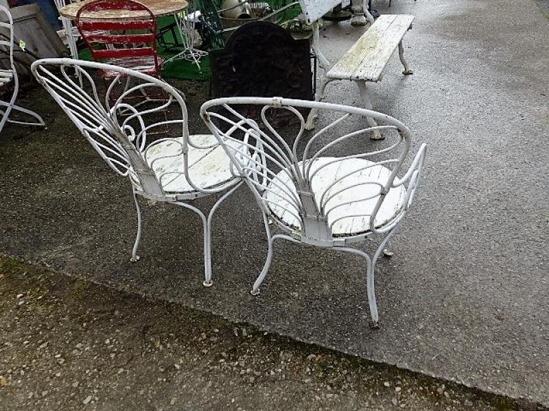 Antique PAIR OF GARDEN CHAIRS
