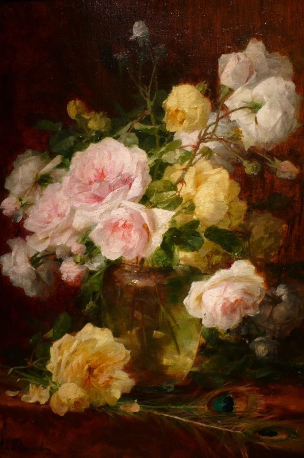 PERRACHON André French Painting XIXTh century Lyon school bunch of flowers Oil on canvas signed