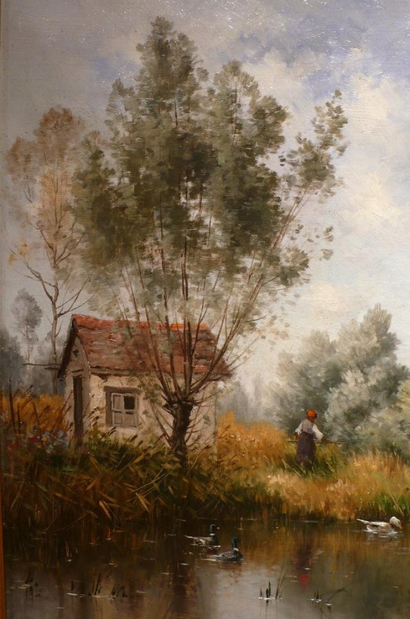 ARMAND GUERY ANCIENT PAINTING LANDSCAPE 19Th CENTURY THE HUT OF THE FISHERMAN OIL ON CANVAS SIGNED