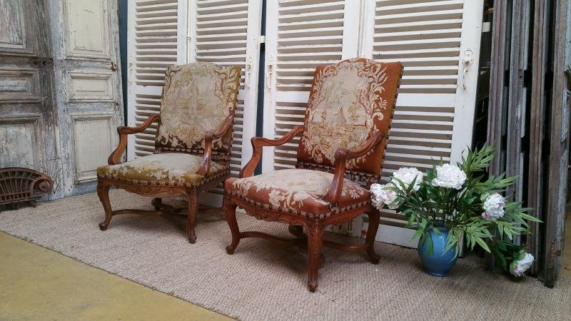 Pair Regence style Armchairs with tapestry