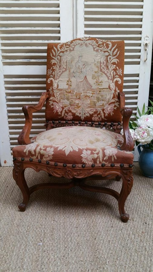 Antique Pair Regence style Armchairs with tapestry