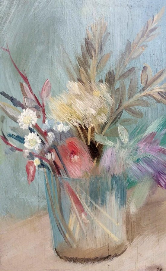 Flowers in a glass by Leopold Levy (1882-1966)