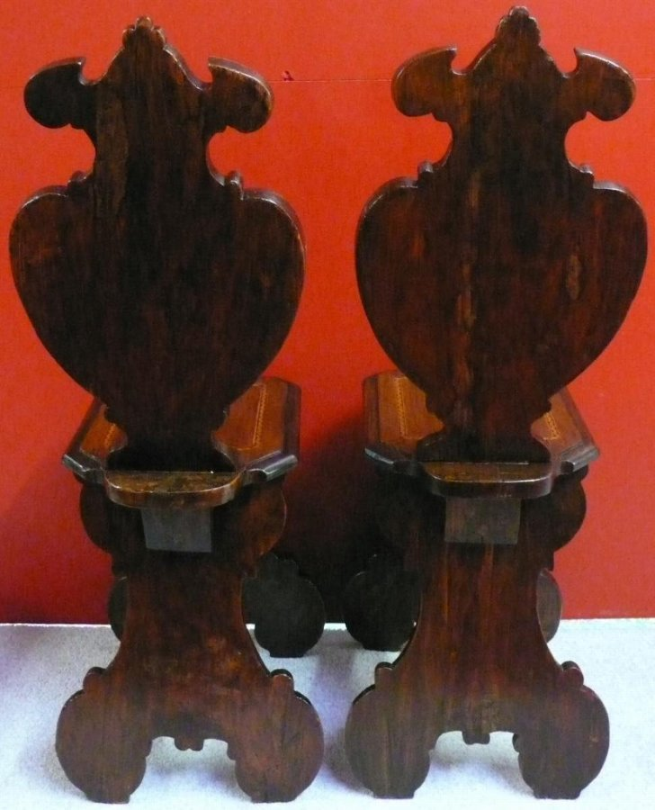 Pair of escabelles sculptured and marquetry wooden 18Th century in the style of the Renaissance
