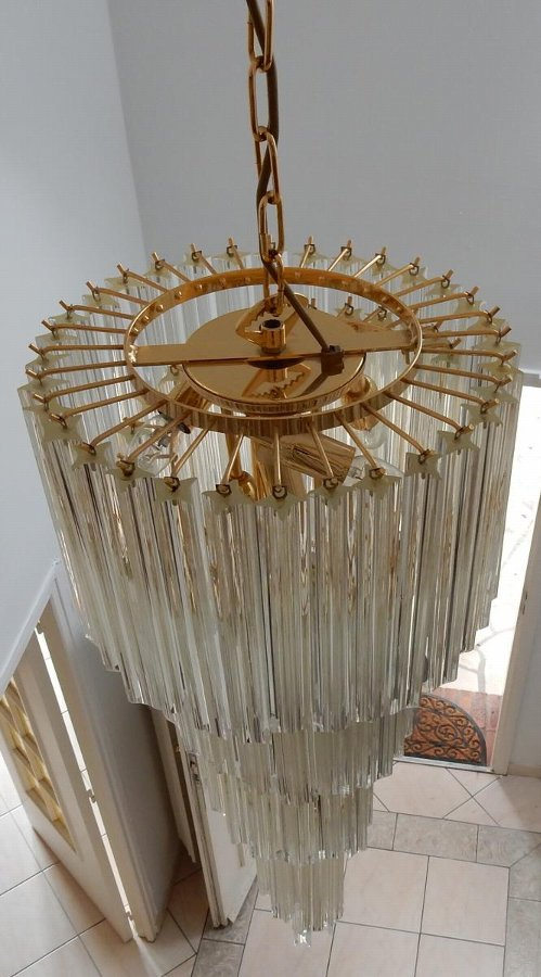 1970/80 chandelier Venini in staircase 86 crystals