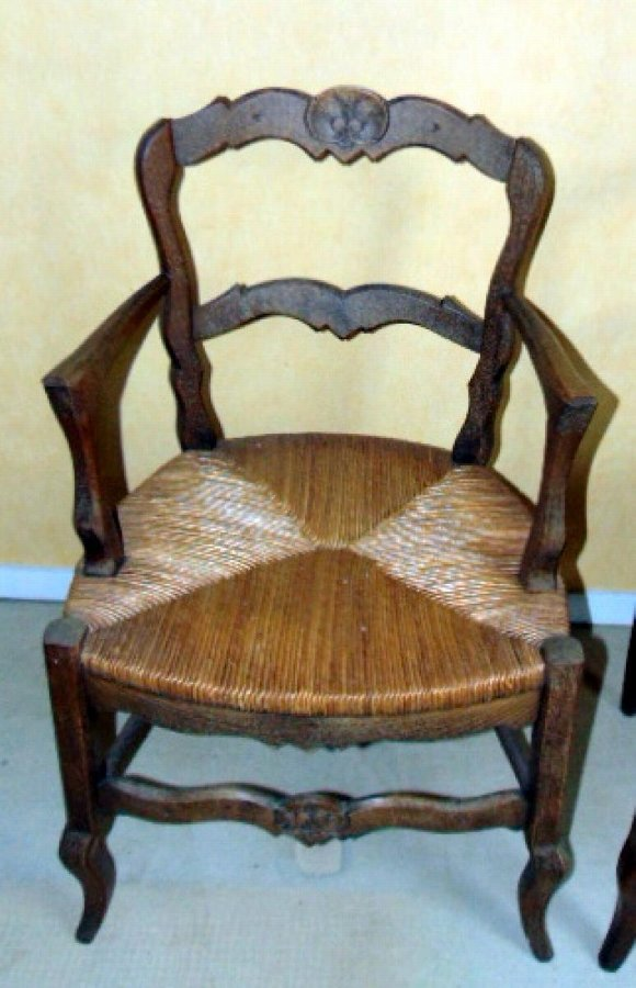 PAIR OF STRAW SEATED ARMCHAIRS