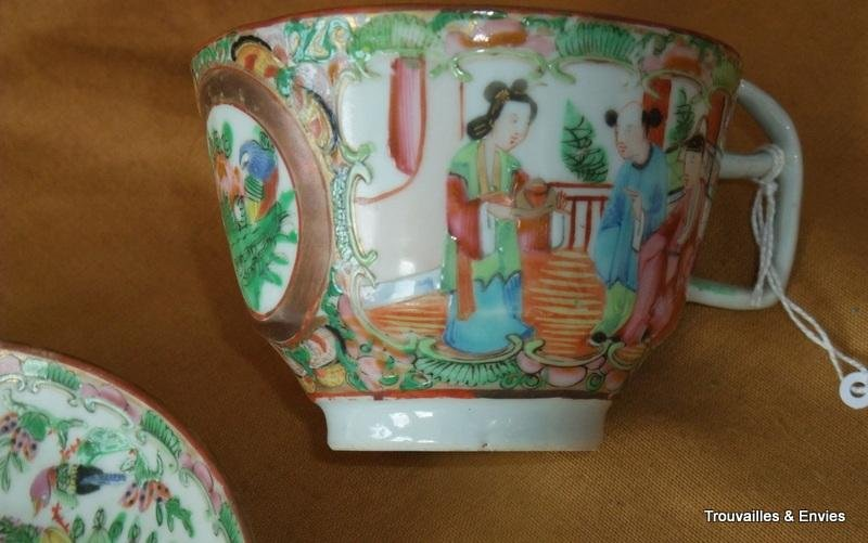 Antique CANTONESE CUPS AND SAUCERS