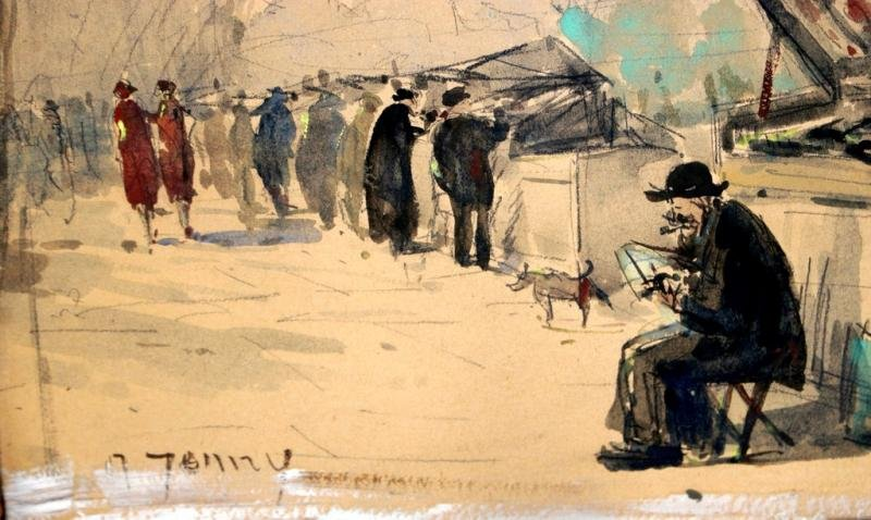 Antique WATER COLOUR OF PARIS
