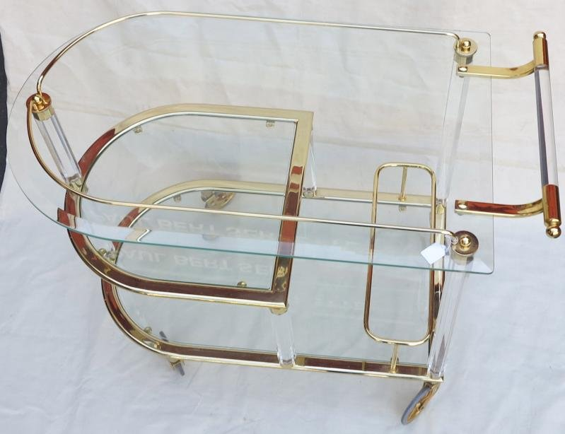 Antique 70' Golden metal and lucite  troll rolling bar in the style of Maison Roméo