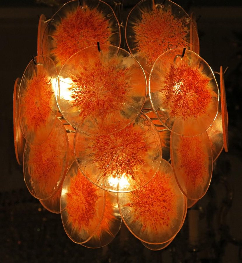 1970'  Venini bowl chandelier in the Style of Vistosi 26 pieces