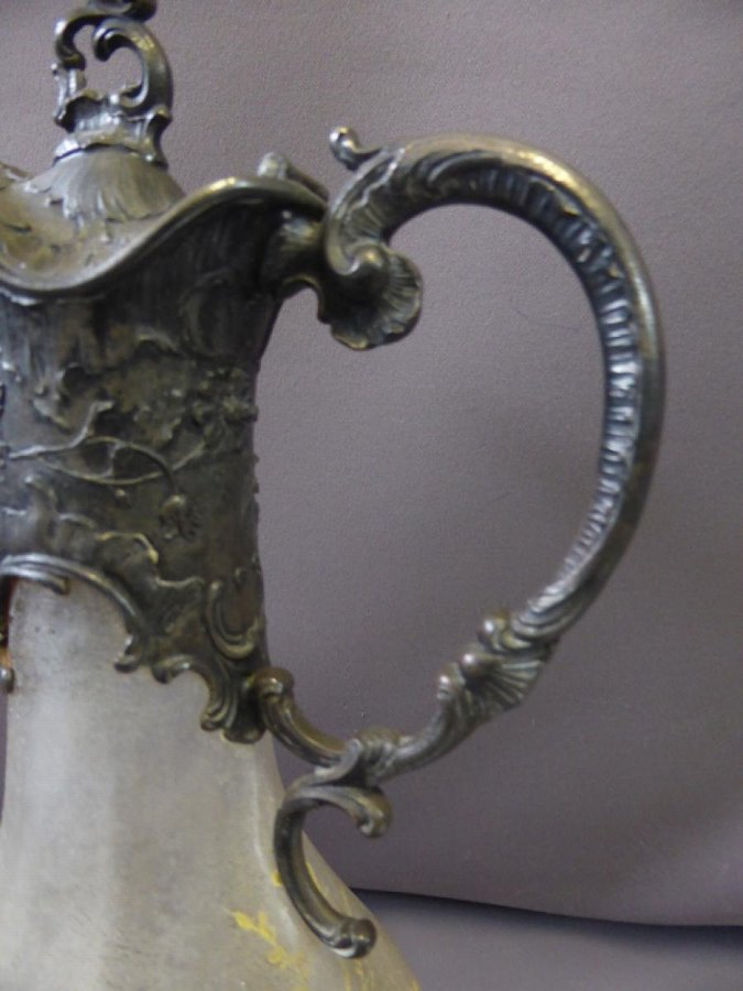 Antique SILVER PLATE AND GLASS EWER