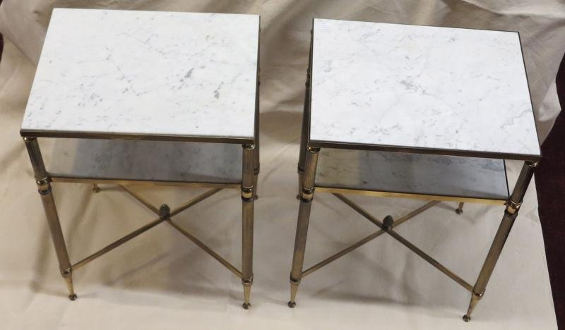Pair of shelves or of stands Maison Bagués trays marbles