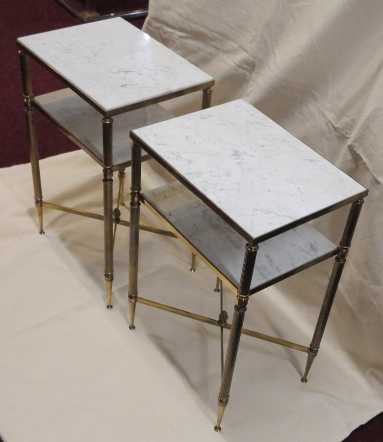 Antique Pair of shelves or of stands Maison Bagués trays marbles