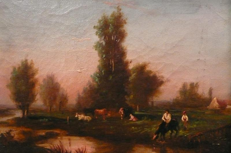 VIGNON VICTOR ANCIENT PAINTING SIGNED XIXTh CENTURY BARBIZON SCHOOL THE LIFE IN THE COUNTRY OIL ON CANVAS SIGNED