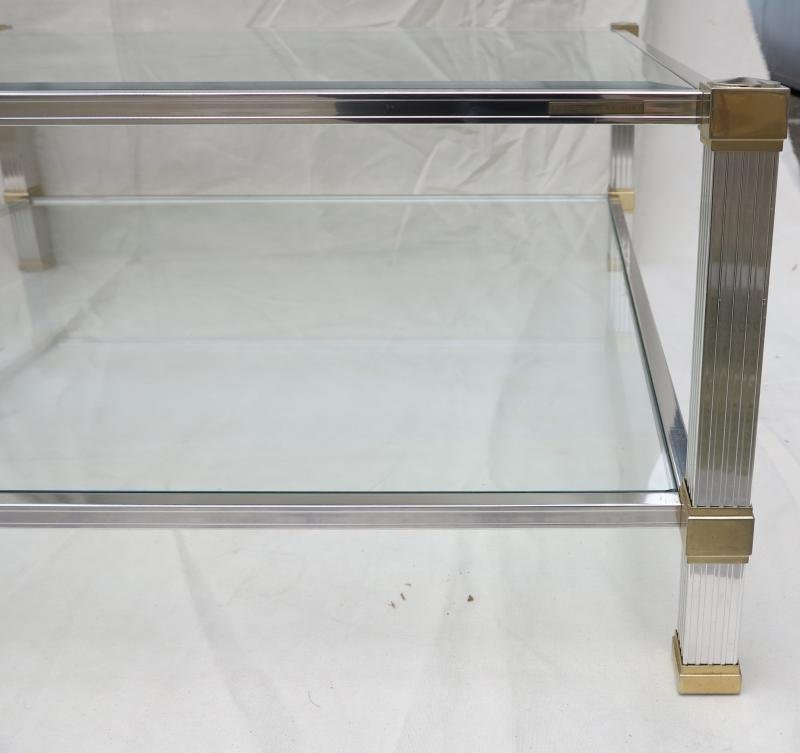 Coffee table Pierre Vandel Paris Chrome and gold