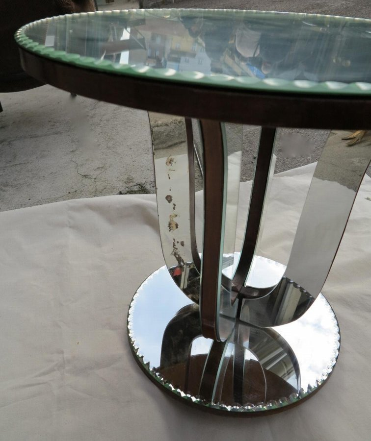 Pedestal table art deco mirror