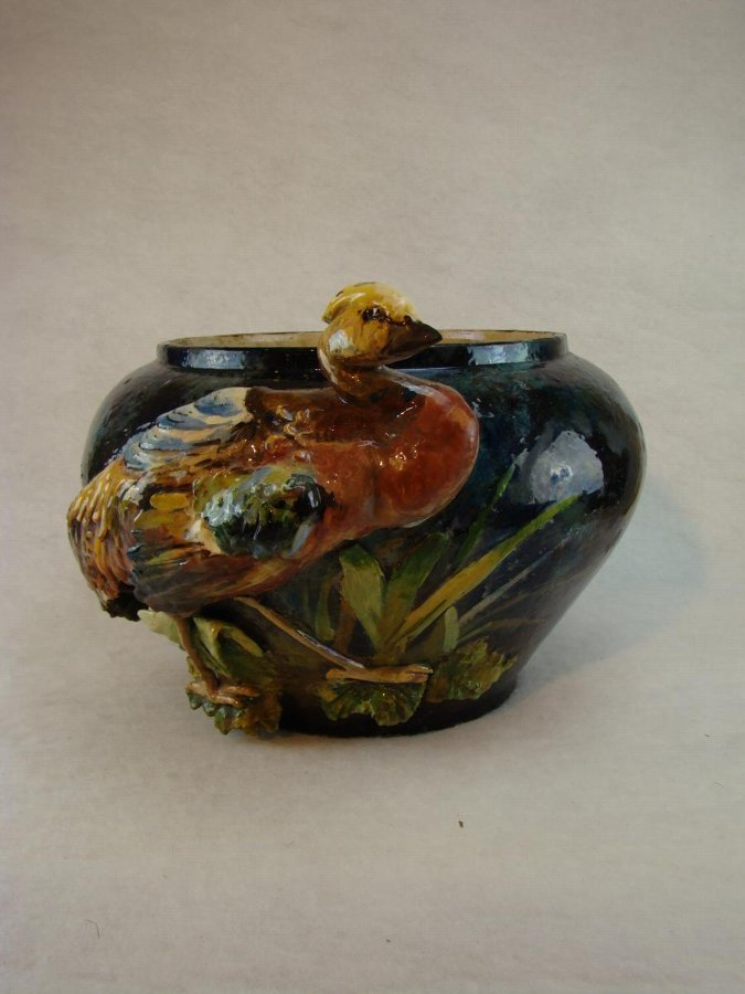19th C BARBOTINE CACHE POT