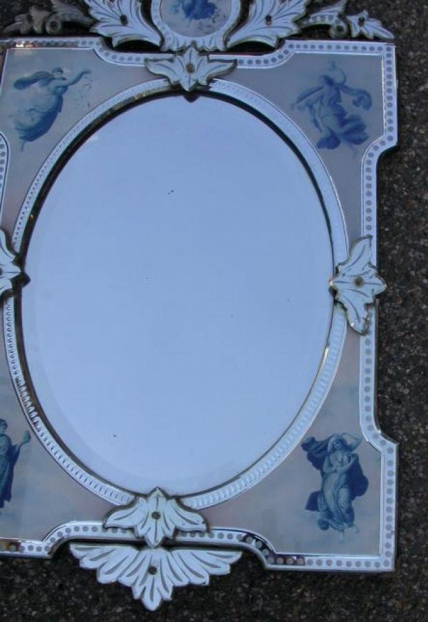 Antique Venitian mirror in 4 seasons allegory of the Woman