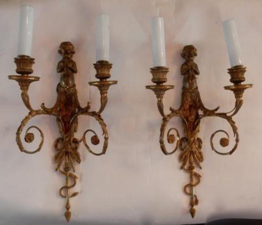 1880 'Pair of Bronze Sconces Children Playing 2 Trumpets Model by Jean HAURE