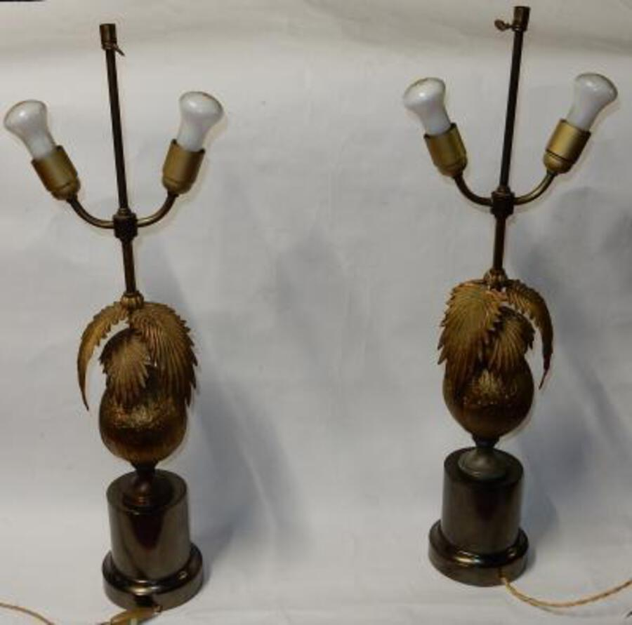 1970 'Pair Of Lamps Palm Or Coconut Tree With Coconut DLG Maison Jansen Or Charles Unsigned