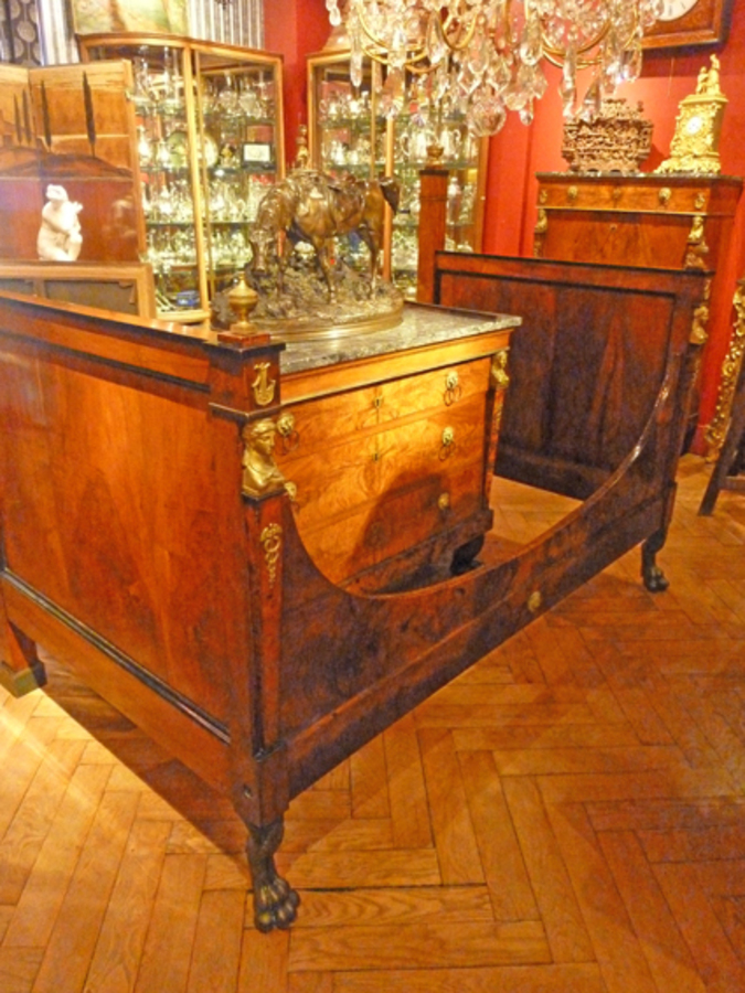 FRENCH EMPIRE PERIOD BED AND BEDSIDE TABLE