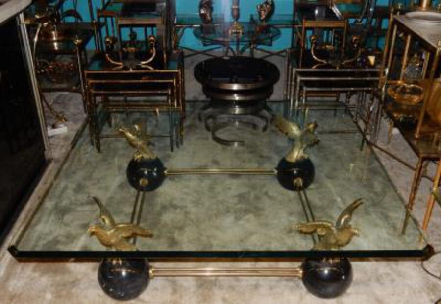 Antique 1970 'Coffee Table With Eagles In The Style Of Maison Charles, Jansen Or Bagués 131 X 131 Cm