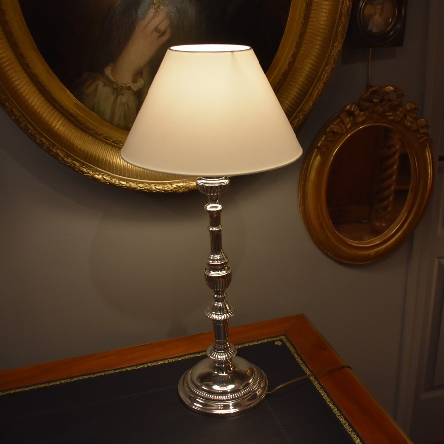 Antique SILVER PLATED BRONZE LAMP