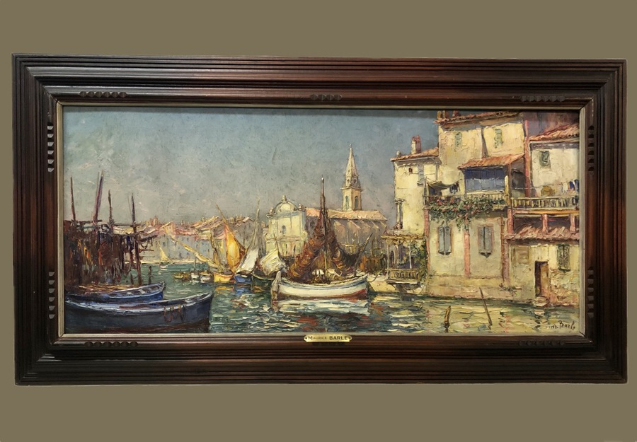 Antique OIL ON PANEL signed Barle