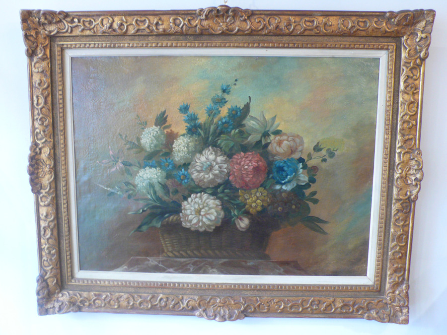 19th CENTURY PAINTING OF FLOWERS