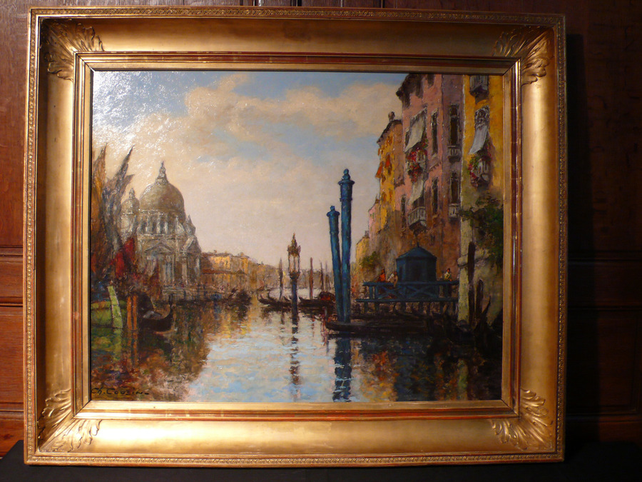 Antique PAINTING OF VENICE SIGNED CH. COUSIN