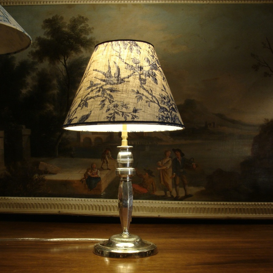 Antique SILVER PLATE LAMP