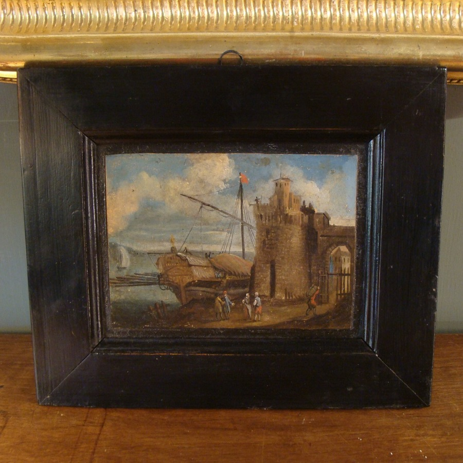 Antique OIL ON PAPER OF FORT ST JEAN, MARSEILLE