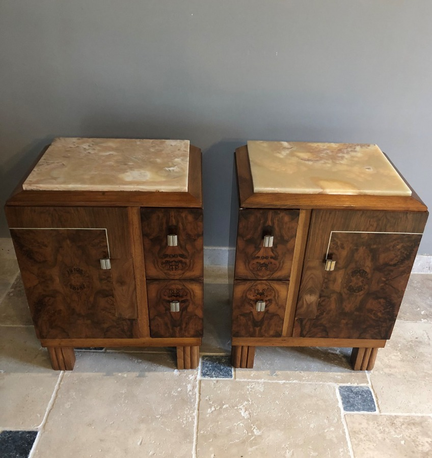 Antique PAIR OF ART DECO PERIOD BEDSIDE TABLES