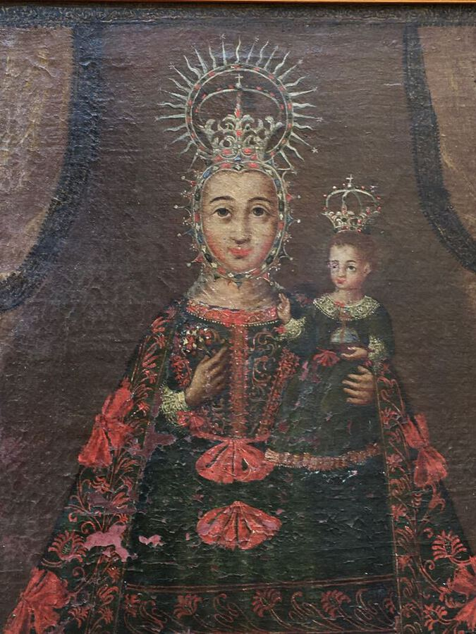 Antique 19th C OIL ON CANVAS VIRGIN AND CHILD CUZCO SCHOOL