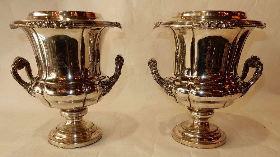 1900 'Pair Of Silver Metal Refreshers In The Style Of Napoleon 3