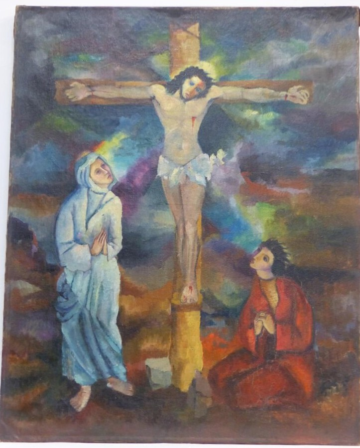 Antique Fauvist painting descent from the cross first half xx em