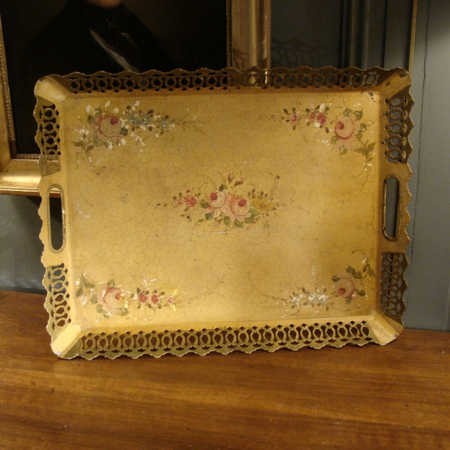 Antique Painted Sheet Tray With Floral Decor