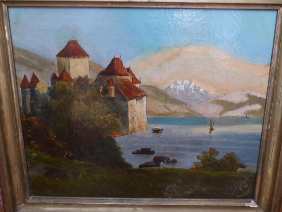 Antique Oil On Canvas Table Epoque XIXth Swiss School The Château de Chillon on the shores of Lake Geneva