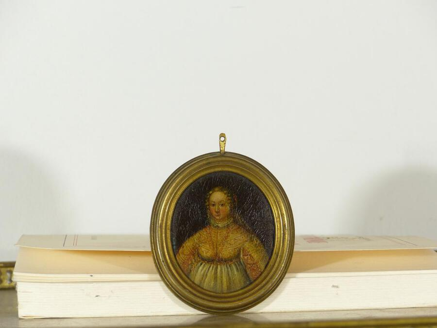 Antique Oil On Copper Portait Miniature Dame De Cour Epoque XVII Louis XIII