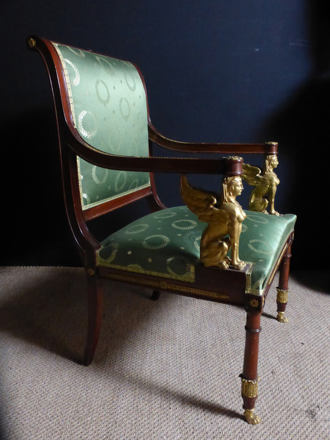 Antique PAIR OF FRENCH EMPIRE STYLE ARMCHAIRS