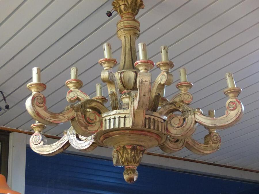 Antique Large Louis XV Style Chandelier LOUIS XVI MASSIF Wood Painted XIX