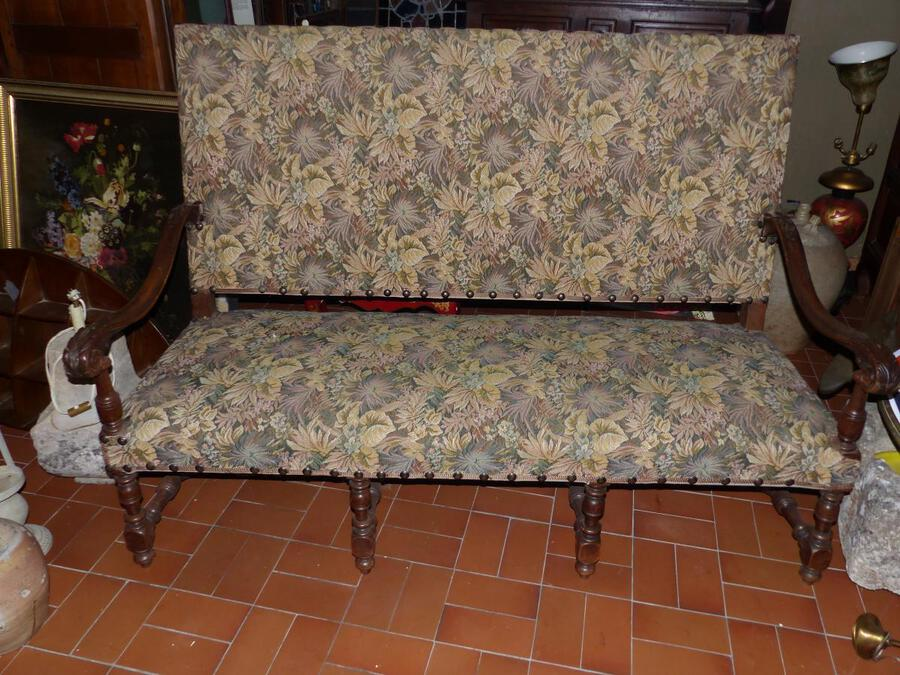 Antique NEOGOTHIC Bench Louis XIII Period XIX Tapestry Fabric