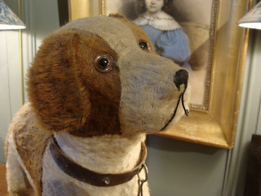 Antique Plush Dog On Wheels, Fadap