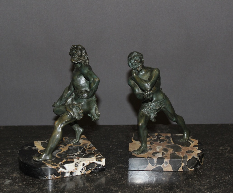 Antique Pair Of Bookends Representing Wrestlers In Bronze