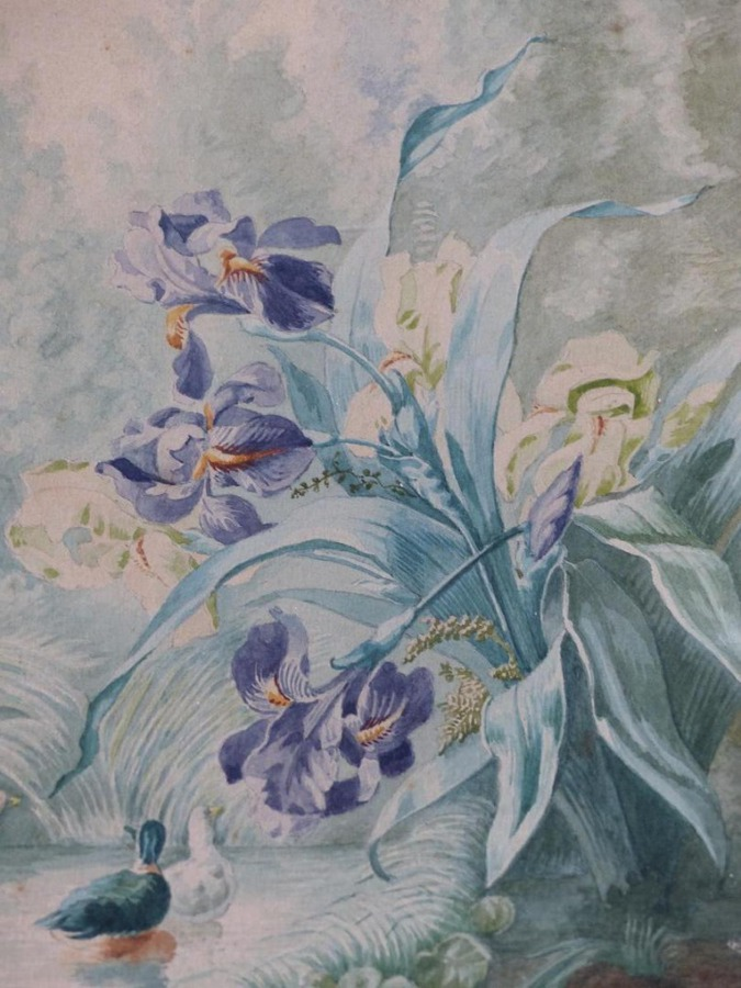 Antique Watercolor Debut XX Eme Ducks With Japanese Irises Sign 1911