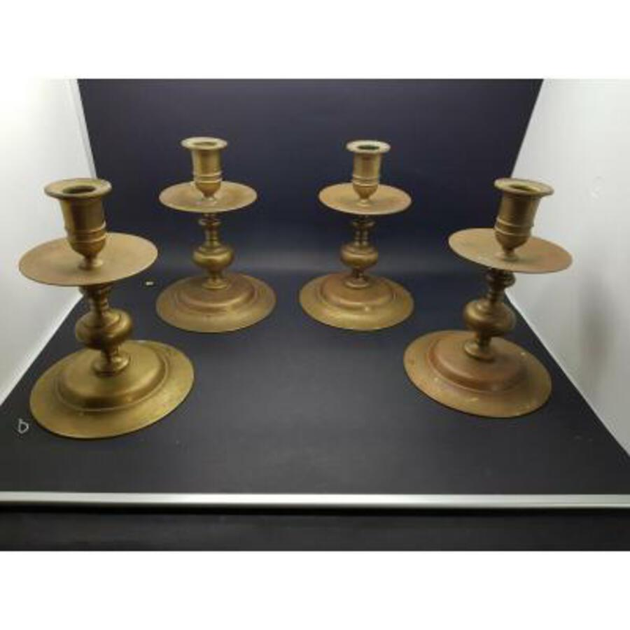 Antique Rare Suite Of Four Candlesticks Haute Epoque XVI Eme Nuremberg