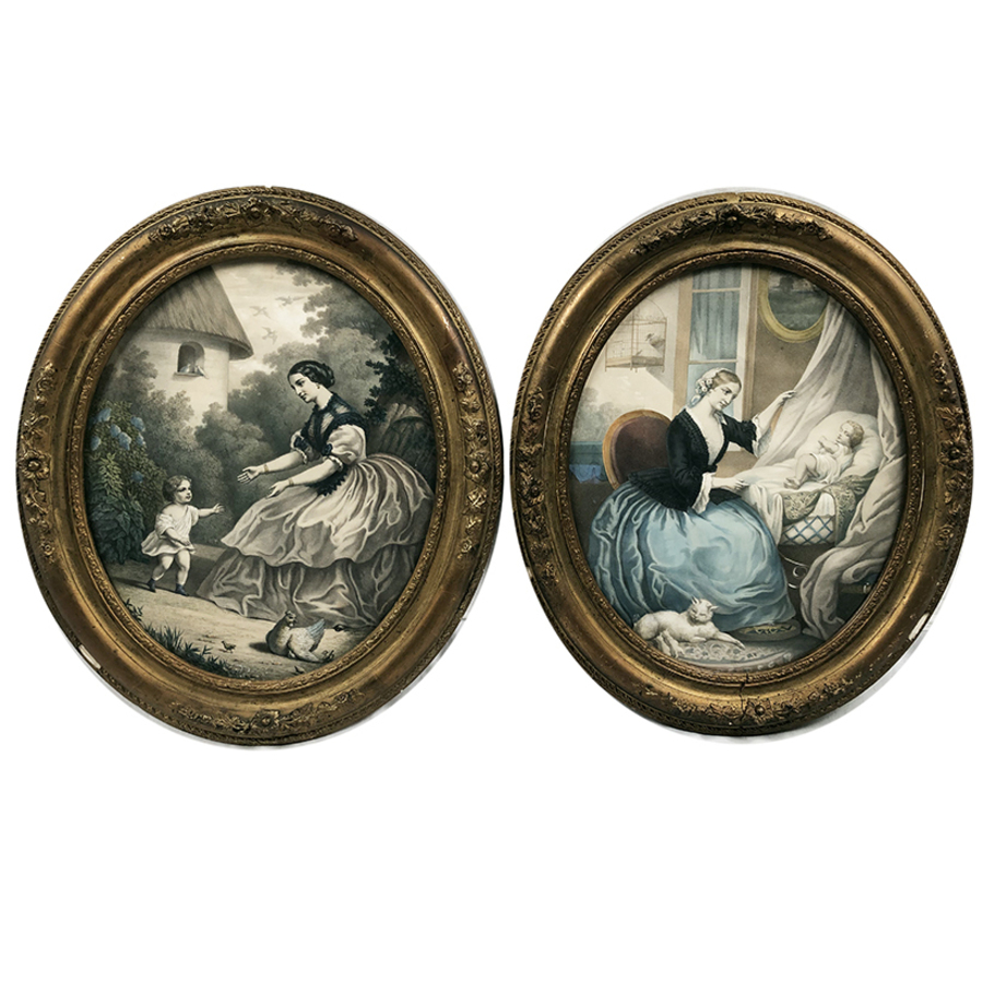 Antique PAIR OF OVAL PRINTS