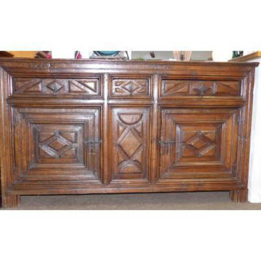 Antique Circa XVII Eme Rare Buffet Size Louis XIII Sideboard Diamond Points 17th High Period