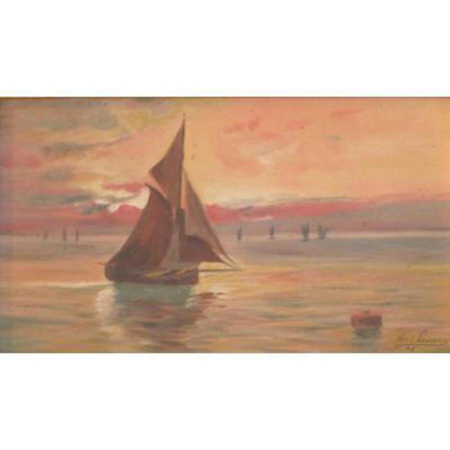 Antique Table Marine Circa 1905 Sign Oil On Canvas Hst Debut XX Eme School Of Pont Aven Brittany HST table marine landscape boats fishing sailboats port Brittany XXth century